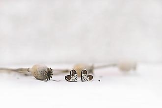 Náušnice - Napichovacie drevené náušnice  Srdce z lesa - 12181331_