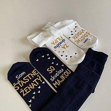"""Obuv - Maľované ponožky s nápisom: """"Môj manžel (Moja manželka) je šťastne ženatý (vydatá)"""" ((biele + tmavomodré)) - 12179958_"""