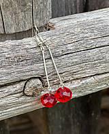 Náušnice - Červené rondelky - stredne dlhé náušnice - 12180757_