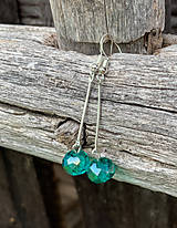 Náušnice - Smaragdové rondelky - stredne dlhé náušnice - 12180762_