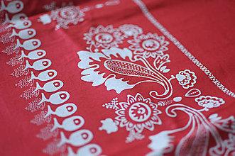 Rúška - *DIzajnové* 2 vrstvové ochranné rúško na tvár - aj v iných prevedeniach  (dizajnové rúško červená/biely kvetinový vzor) - 12179978_
