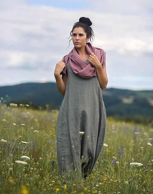 Šaty - Lněné maxi šaty khaki - 12179695_