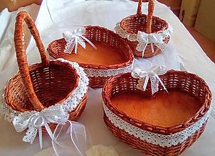 Košíky - Svadobné košíky ČEREŠŇOVÉ DREVO / set - 12180063_
