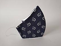 Dizajnové rúško modrotlač navy tvarované dvojvrstvové
