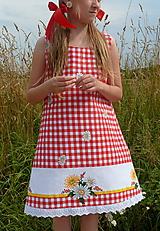 Detské oblečenie - Šatočky Margarétky v červenej kocke - 12184604_