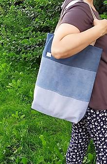 Veľké tašky - Modrá, modrejšia, najmodrejšia..riflová taška - 12184382_
