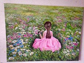 Obrazy - Natrhám kytičku pre moju mamičku - 12184880_
