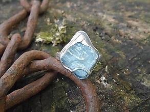 Prstene - Strieborny prsteň Ag925 Akvamarín - 12184353_