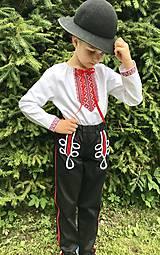 Detské oblečenie - Ľudový chlapčenský kroj červeno/čierny 2 - 12184787_
