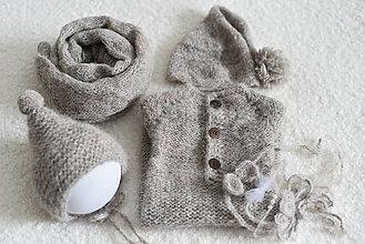 Detské oblečenie - Newborn šedobéžový set na fotenie - wrap, overal, čiapočka, čelenka - 12183871_