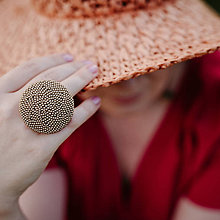 Prstene - BUTTON {XL} výrazný matný béžový prsteň - 12182228_