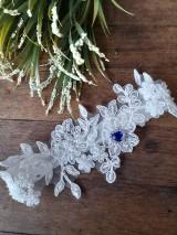 Svadobný podväzok Modré srdiečko