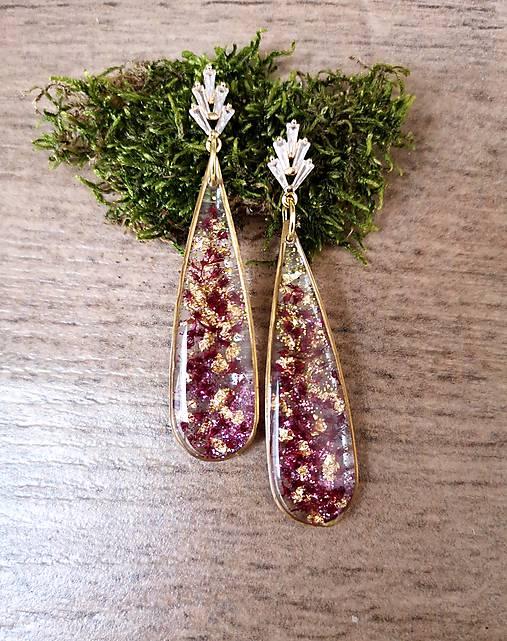 Živicové náušnice fialovo-zlaté, zirkón, striebro Ag