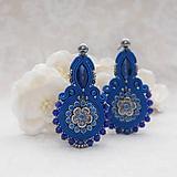 Náušnice - Kráľovská modrá nielen pre kráľovnú (šujtášové náušnice,povodna cena 32€ ) - 12186020_