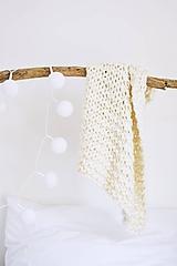 - Vlnená pletená deka - prírodná (Vlnená pletená deka - prírodná 120x160 cm) - 12186379_