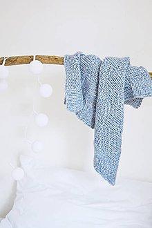 Textil - Vlnená pletená deka - holubia - 12186404_