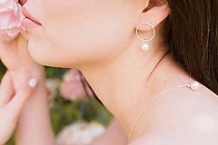 - Strieborné náušnice - kruhy so swarovski perlami - 12186181_
