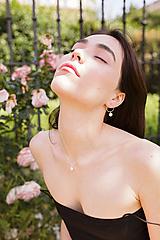 - Strieborný set - náušnice a náhrdelník so swarovski perlou - 12186369_