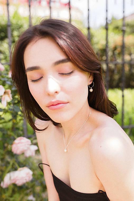 Strieborný set - náušnice a náhrdelník s perlou
