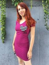 Tehotenské/Na dojčenie - Šaty na dojčenie- vínové priliehavé- XS/S - 12184996_