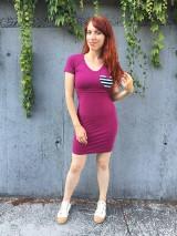 Tehotenské/Na dojčenie - Šaty na dojčenie- vínové priliehavé- XS/S - 12184997_