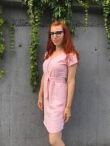 Šaty - Ľanové šaty s V- výstrihom - 12185019_