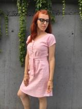 Šaty - Ľanové šaty s V- výstrihom - 12185020_