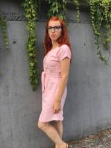 Šaty - Ľanové šaty s V- výstrihom - 12185021_