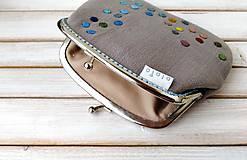 Peňaženky - Peňaženka XL Bodky na svetlošedej (s kapsičkou) - 12185113_