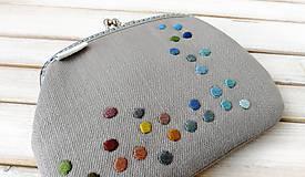Peňaženky - Peňaženka XL Bodky na svetlošedej (s kapsičkou) - 12185115_