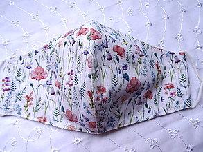 Rúška - Bavlnené rúška... dámske (Divé maky + modré zvončeky) - 12188181_