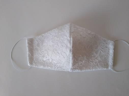 Svadobné rúško biele čipkované trojvrstvové  tvarované