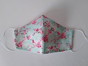 Rúška - Dizajnové rúško sakura prémiová bavlna antibakteriálne s časticami striebra dvojvrstvové tvarované - 12187895_