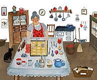 Obrazy - Babička pečie / reprodukcia - 12187399_