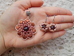 Sady šperkov - Marhuľovo-bordová sada - 12188580_