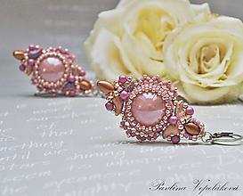 Náušnice - Visiace náušnice so skleněným kabošonom Fairy Wings ružovozlaté - 12187636_