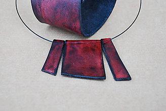 Náhrdelníky - Kožený set MRAMOR PATINA - 12187297_