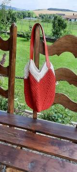 Veľké tašky - Červená a biela letná háčkovaná taška - 12191047_