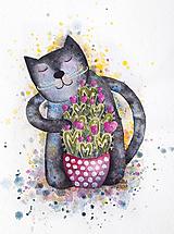 Kresby - Kocúr Piatok a láskou zakvitnutý kaktus - 12189737_