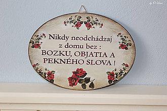 Tabuľky - Nikdy neodchádzaj z domu bez ... tabuľka (S ružami) - 12190879_