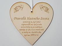Tabuľky - Drevená tabuľka na dvere Pravidlá šťastného života - 12189853_