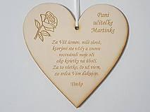 Dekorácie - Drevená tabuľka 17cm-Poďakovanie pani učiteľke s ružou - 12189921_