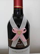 Pierka - Svadobná mašľa na fľašu 2 - 12190960_