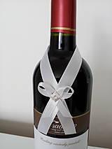 Pierka - Svadobná mašľa na fľašu 3 - 12190979_