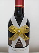 Pierka - Svadobná mašľa na fľašu 4 - 12191045_