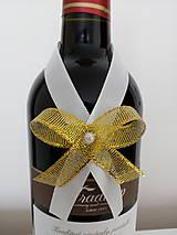 Pierka - Svadobná mašľa na fľašu 4 - 12191046_