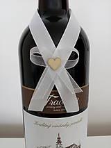 Pierka - Svadobná mašľa na fľašu 1 - 12191091_