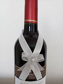 Pierka - Svadobná mašľa na fľašu 5 - 12191101_