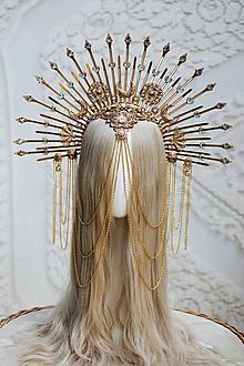 Ozdoby do vlasov - Zlatá Halo crown so zdobením - 12191040_