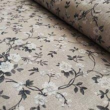 Textil - Šedo biele kvety na béžovej - 12191409_